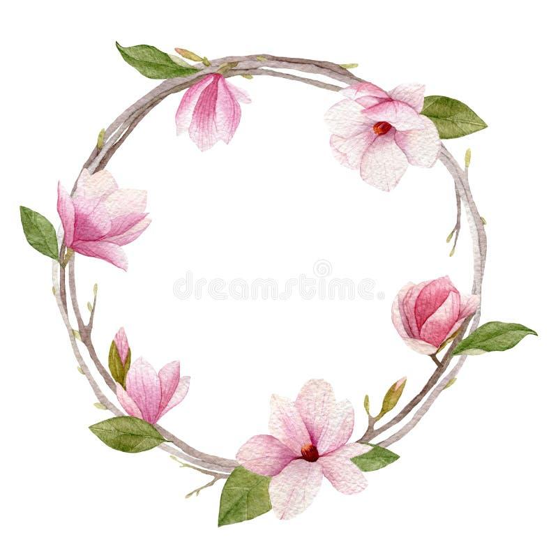 Guirnalda de la magnolia de la acuarela en el fondo blanco Greeti del día de la mujer libre illustration