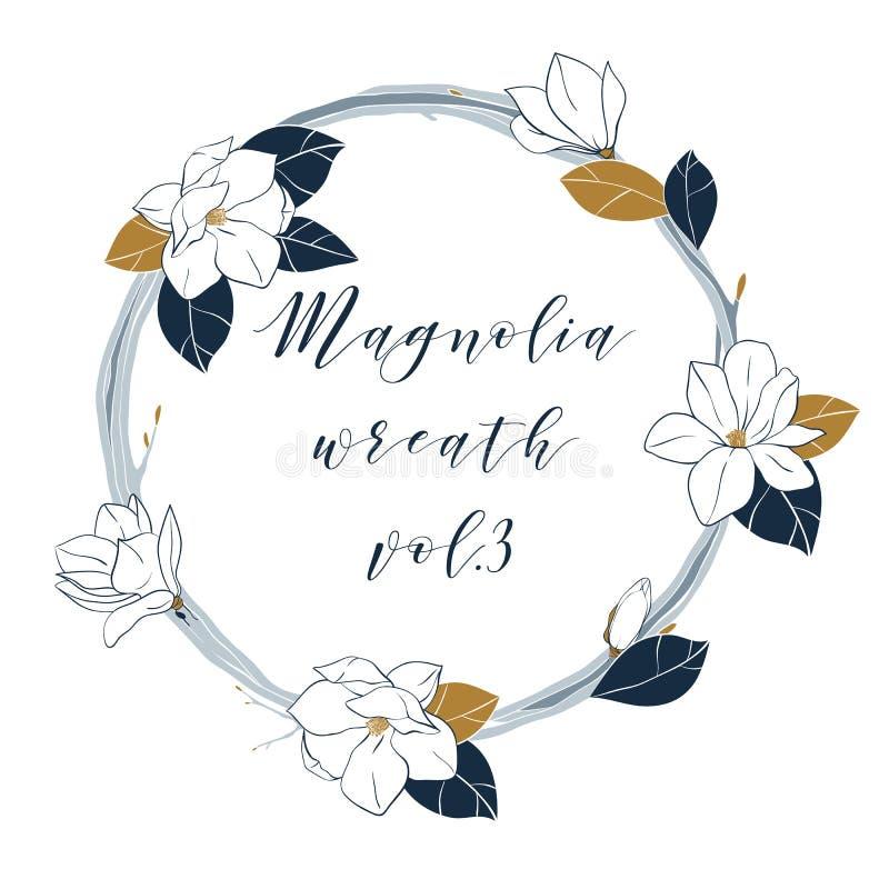 Guirnalda de la magnolia del vector en colores azules y de bronce profundos Dé el illustartion del drenaje con las flores, los br stock de ilustración