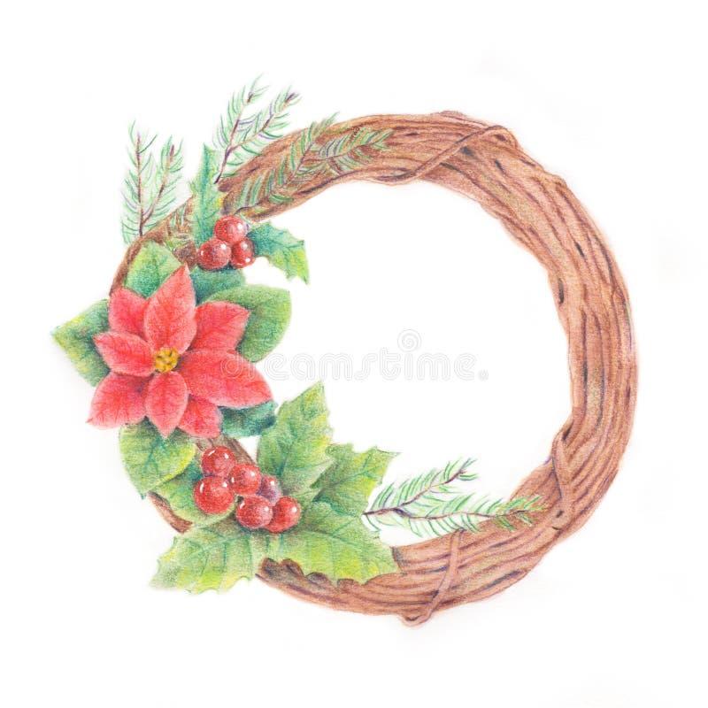 Guirnalda de la Navidad de la acuarela ilustración del vector