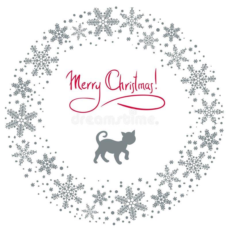Guirnalda de la Navidad con el gato libre illustration