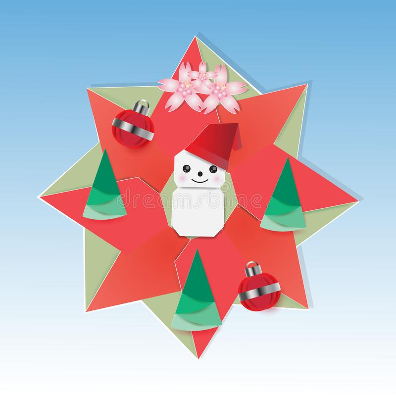 Guirnalda de la Navidad con el muñeco de nieve y el abeto ilustración del vector