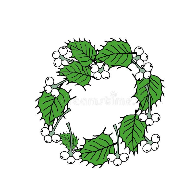 Guirnalda de la Navidad con el texto Tarjeta de felicitación de la Feliz Navidad Ejemplo coloreado del vector en blanco stock de ilustración