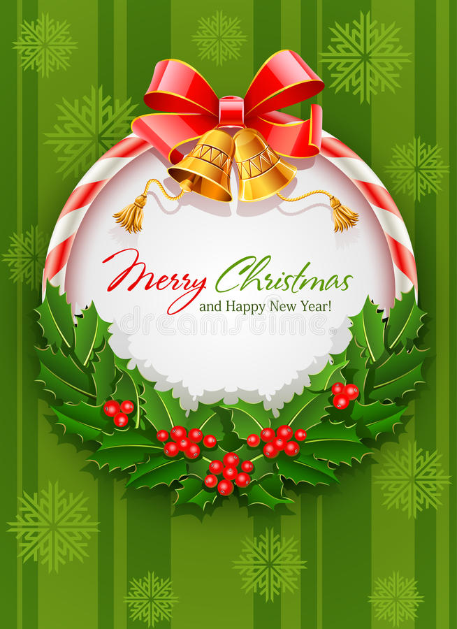 Guirnalda de la Navidad con las alarmas del arqueamiento y del oro ilustración del vector
