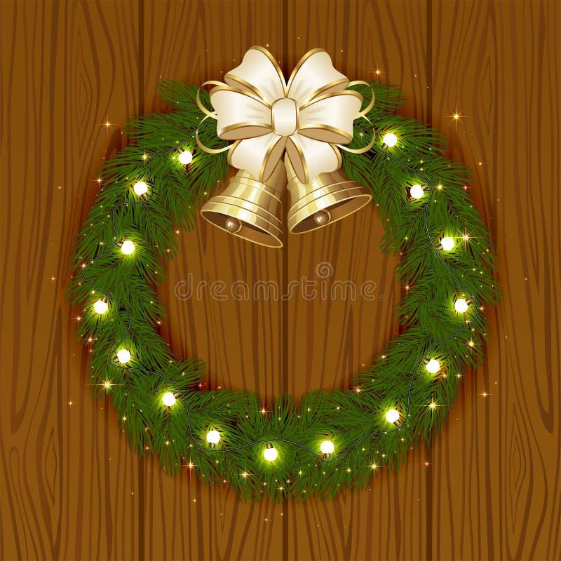 Guirnalda de la Navidad con las campanas stock de ilustración