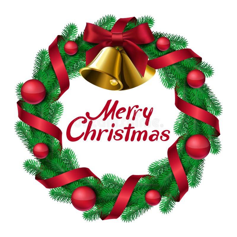 Guirnalda de la Navidad con las cintas y las bolas de las campanas libre illustration