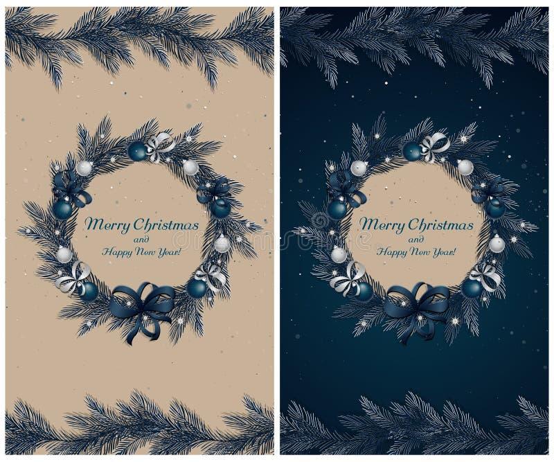 Guirnalda de la Navidad con las decoraciones stock de ilustración