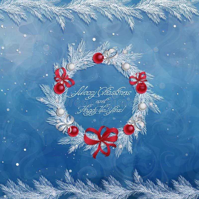 Guirnalda de la Navidad con las decoraciones: bolas, cintas y estrellas ilustración del vector