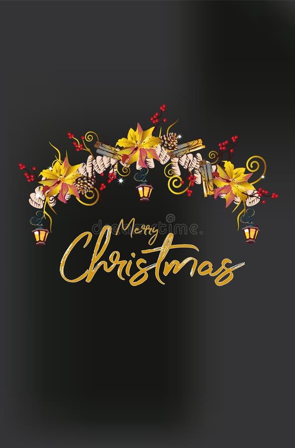 Guirnalda de la Navidad con las decoraciones de las cintas de las ramas de árbol de navidad, de las linternas, de las velas, roja stock de ilustración