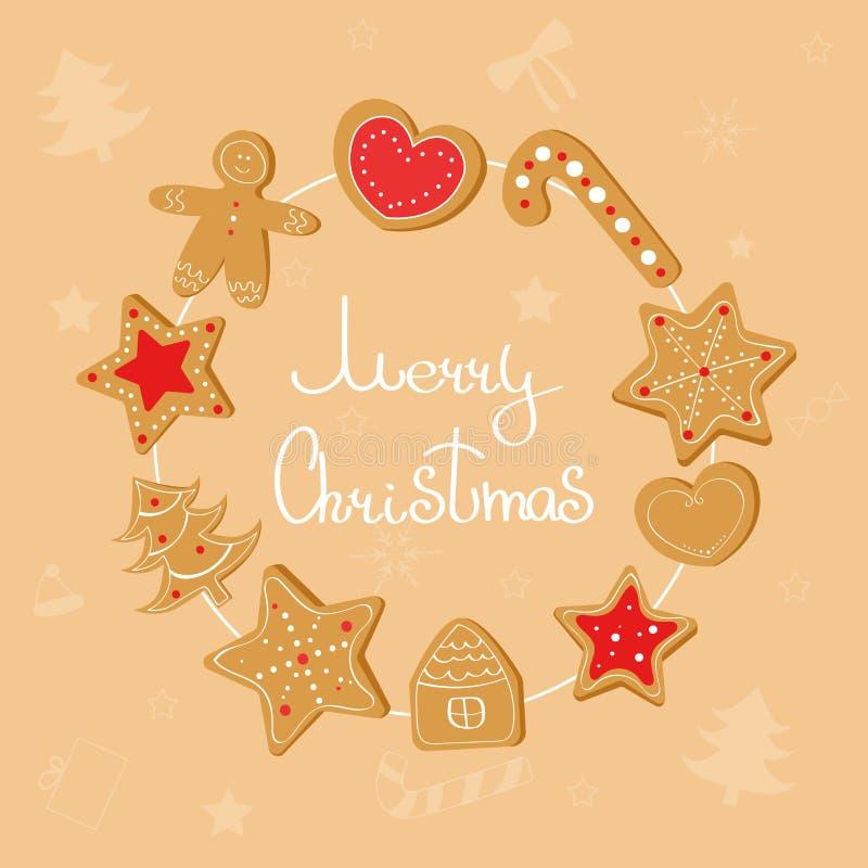 Guirnalda de la Navidad con las galletas del jengibre libre illustration