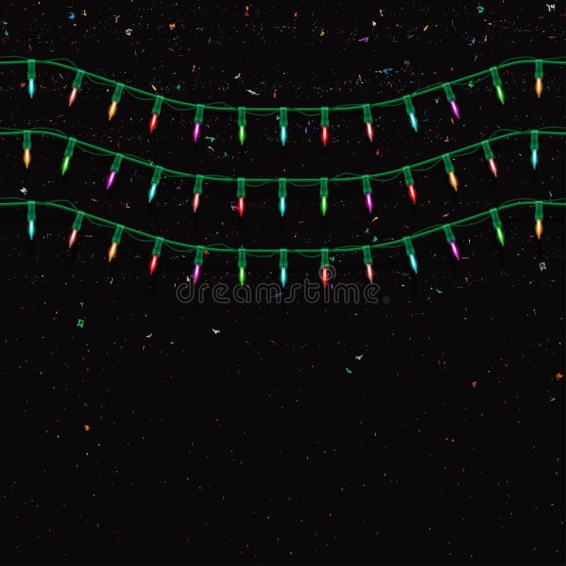 Guirnalda de la Navidad con las luces Fondo inconsútil del día de fiesta de la Navidad stock de ilustración
