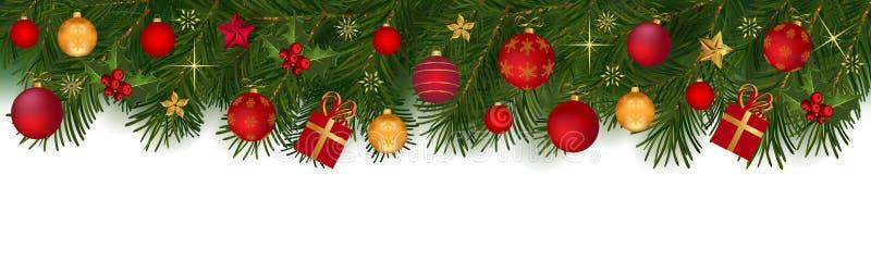 Guirnalda de la Navidad con las ramas y la decoración del abeto ilustración del vector