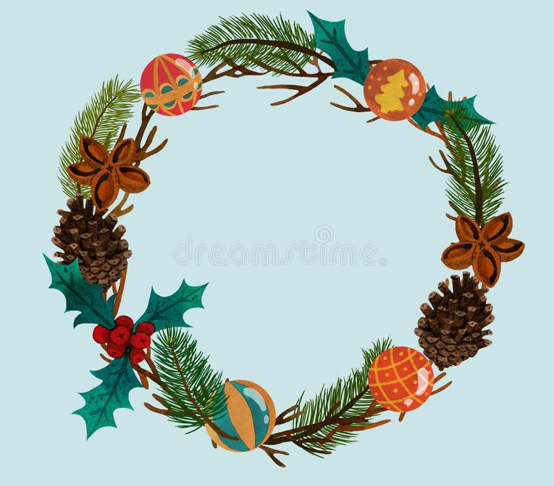 Guirnalda de la Navidad con los conos y la acuarela de las bolas stock de ilustración