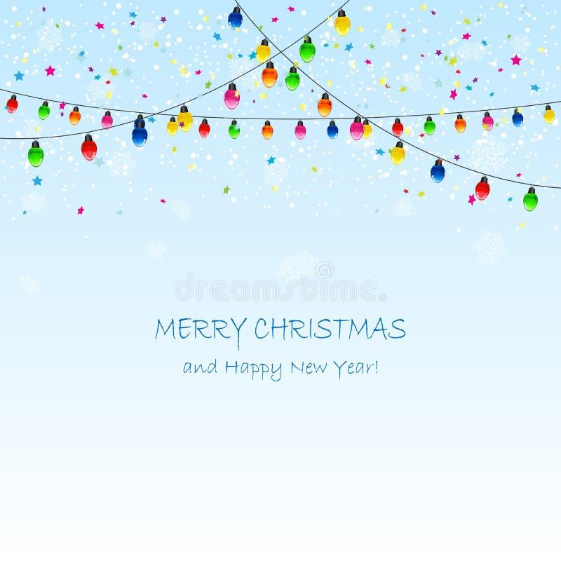 Guirnalda de la Navidad con los copos de nieve y el confeti libre illustration