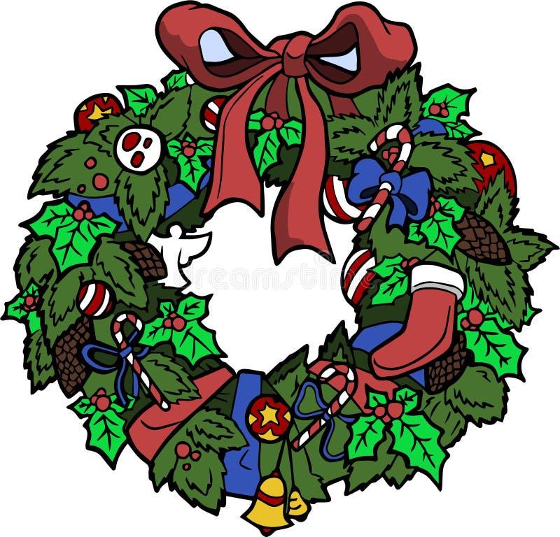 Guirnalda de la Navidad con los ornamentos en el fondo blanco stock de ilustración
