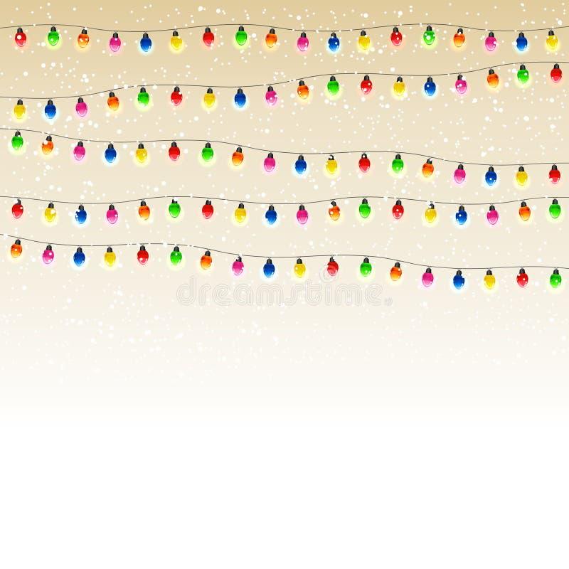 Guirnalda de la Navidad con nieve libre illustration