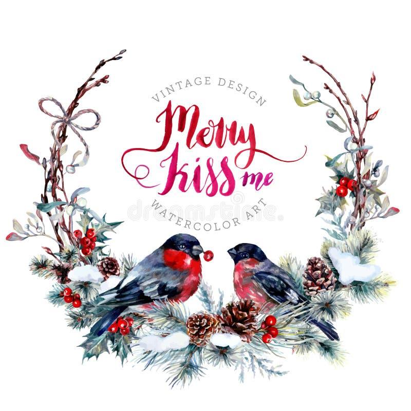 Guirnalda de la Navidad de la acuarela con los piñoneros ilustración del vector