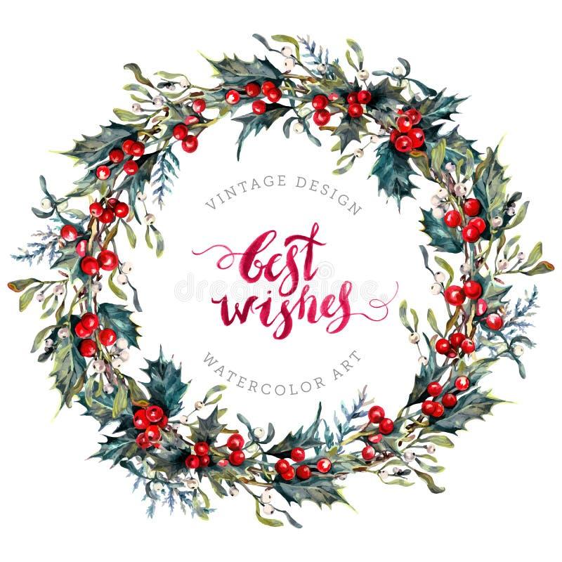 Guirnalda de la Navidad de la acuarela del acebo y del muérdago ilustración del vector