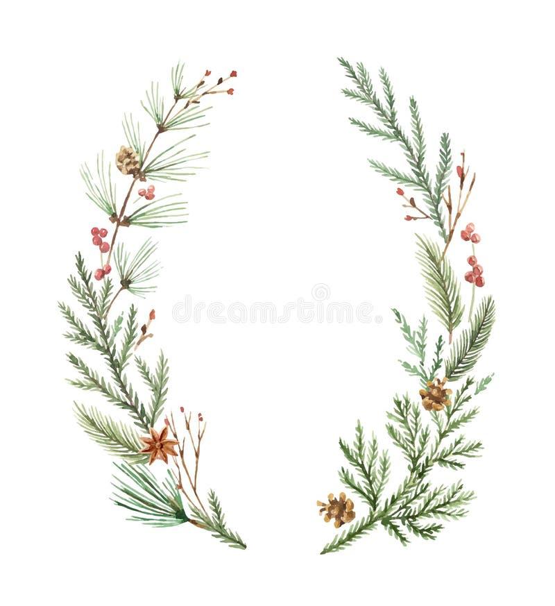 Guirnalda de la Navidad del vector de la acuarela con las ramas y el lugar del abeto para el texto stock de ilustración