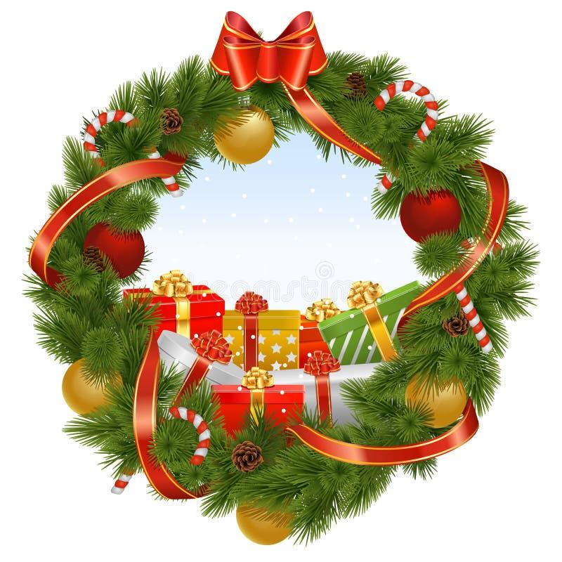 Guirnalda de la Navidad del vector con el fondo ilustración del vector