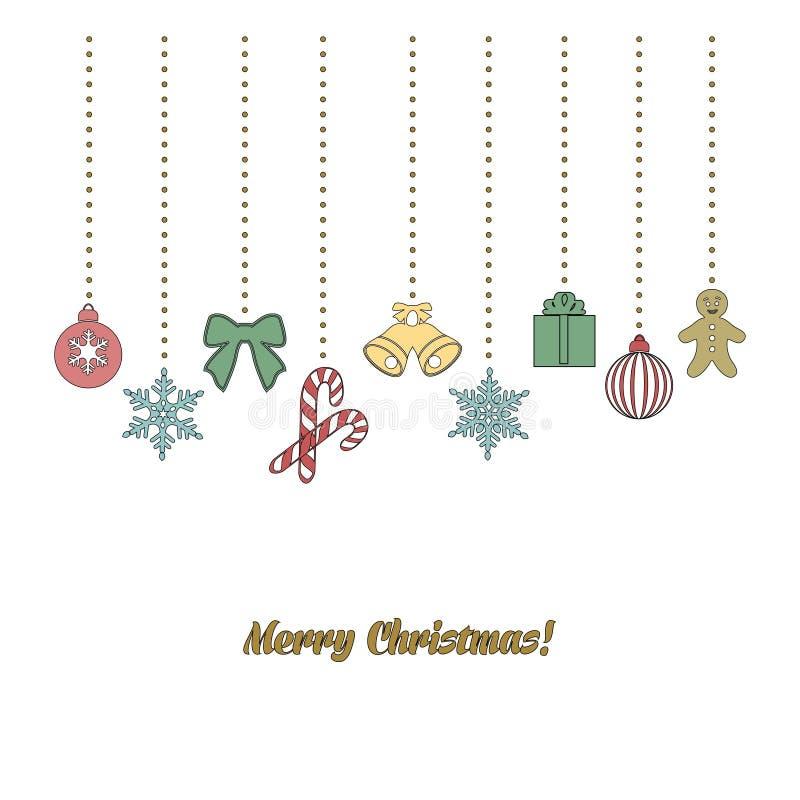 Guirnalda de la Navidad en estilo del garabato stock de ilustración