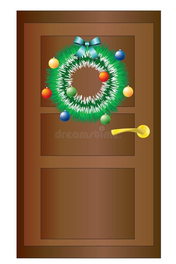 Guirnalda de la Navidad en la puerta. ilustración del vector
