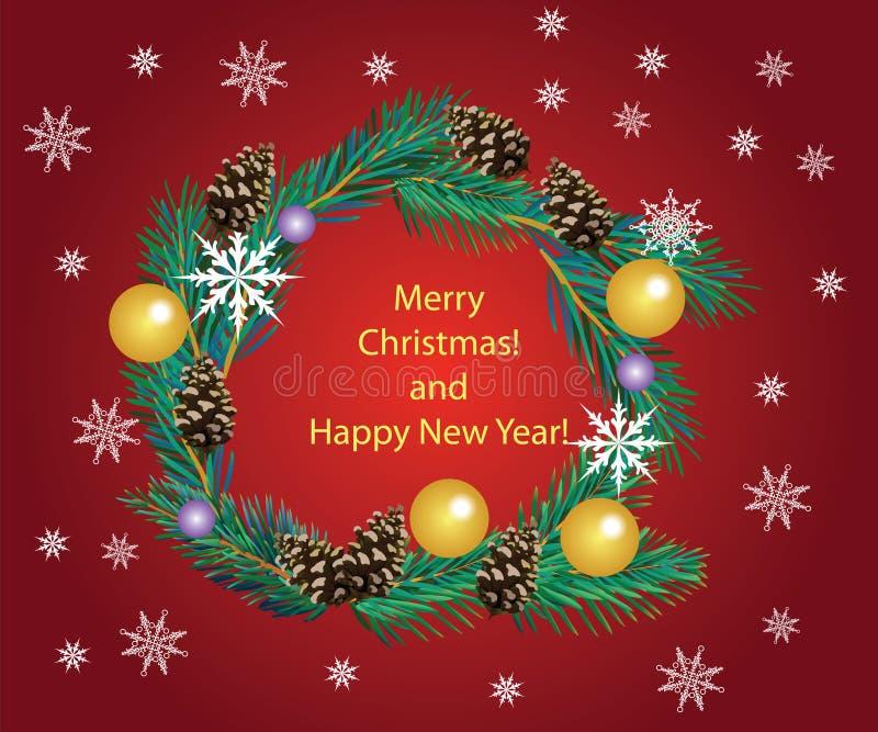 Guirnalda de la Navidad de las ramas, de los conos y de las bolas del abeto en un fondo rojo stock de ilustración