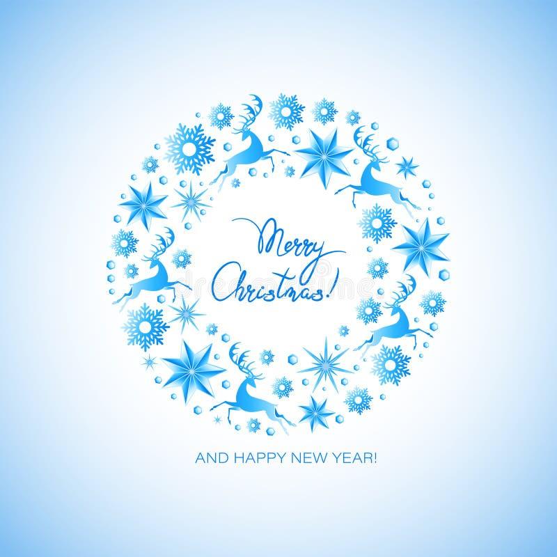 Guirnalda de la Navidad de los ciervos de funcionamiento, estrellas del hielo, gemas, copos de nieve ¡Feliz Navidad! stock de ilustración