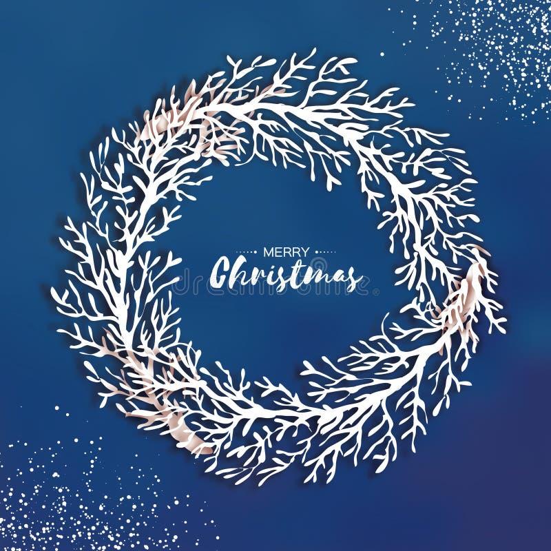 Guirnalda de la Navidad de la papiroflexia Rama de árbol del corte del papel ilustración del vector
