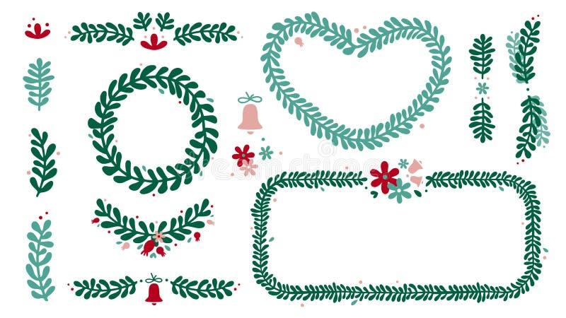 Guirnalda de la Navidad y sistema del marco stock de ilustración