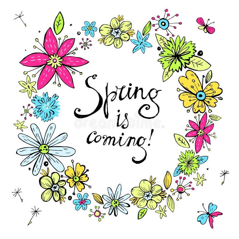 Guirnalda de la primavera del vector con el flowe dibujado mano en colores pastel del garabato del vintage ilustración del vector