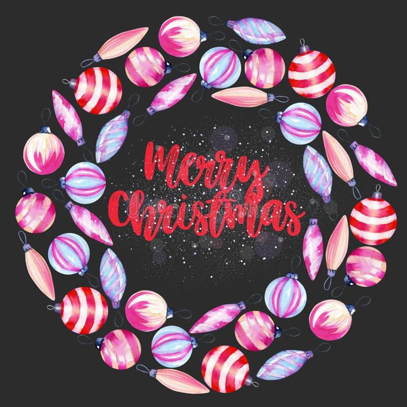 Guirnalda de las decoraciones de la Navidad de la acuarela, mano del invierno dibujada en un fondo oscuro libre illustration