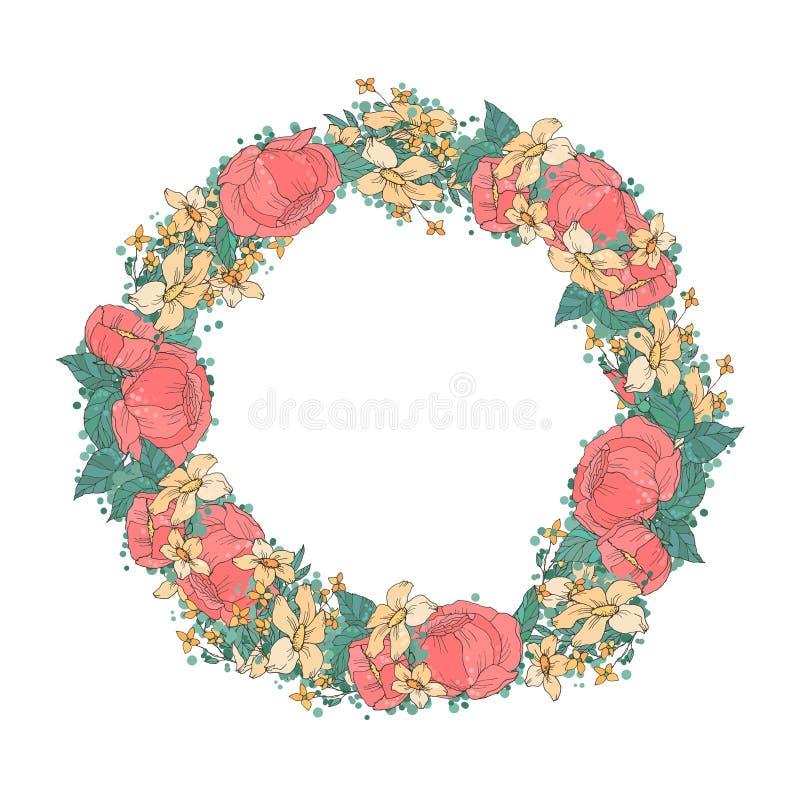Guirnalda de las flores de la acuarela stock de ilustración