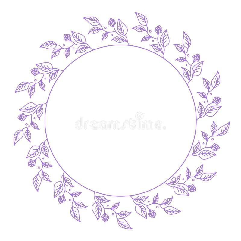 Guirnalda de las flores de la lila en un fondo blanco stock de ilustración