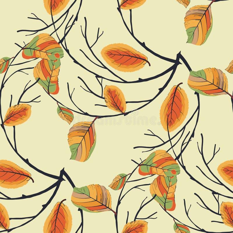 Guirnalda de las hojas de otoño inconsútiles stock de ilustración