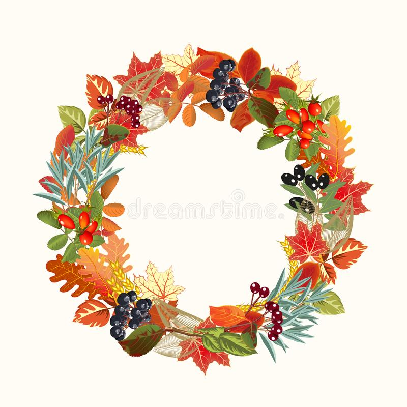 Guirnalda de las hojas y de las bayas de otoño libre illustration