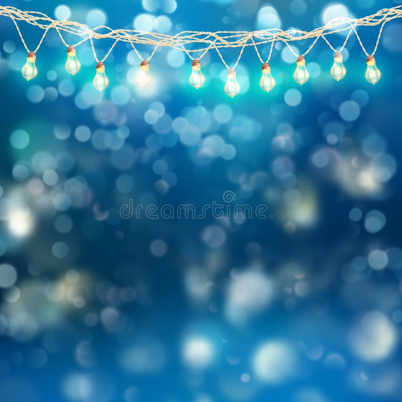 Guirnalda de las luces de la Navidad con brillar intensamente en fondo azul Vector del EPS 10 ilustración del vector