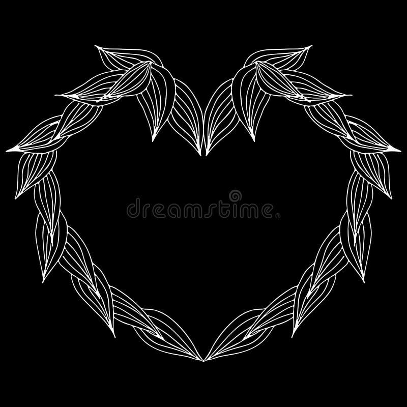 Guirnalda de las ramas del laurel en la forma de coraz?n aislada en fondo negro Elementos del dise?o del marco de Foral para las  stock de ilustración