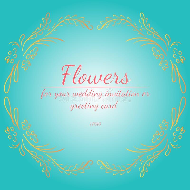 Guirnalda de las rosas o de las flores con verde de mar ligero, sombrilla, colores coralinos de vida de las peon?as Elementos flo ilustración del vector