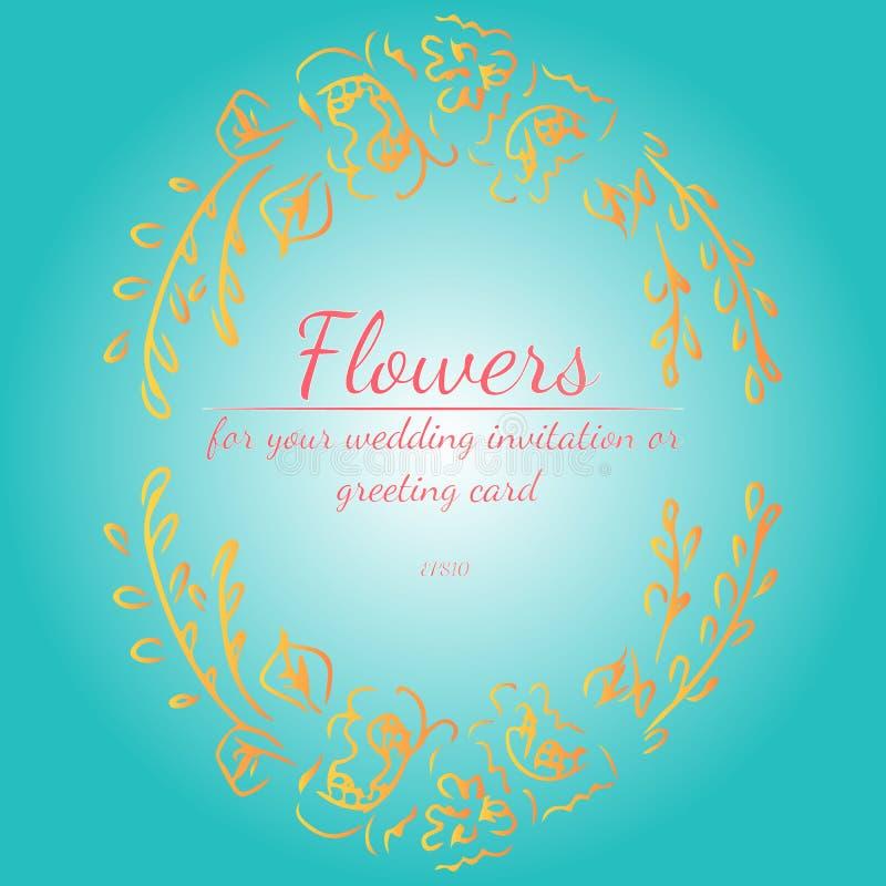 Guirnalda de las rosas o de las flores con verde de mar ligero, sombrilla, colores coralinos de vida de las peon?as Elementos flo stock de ilustración