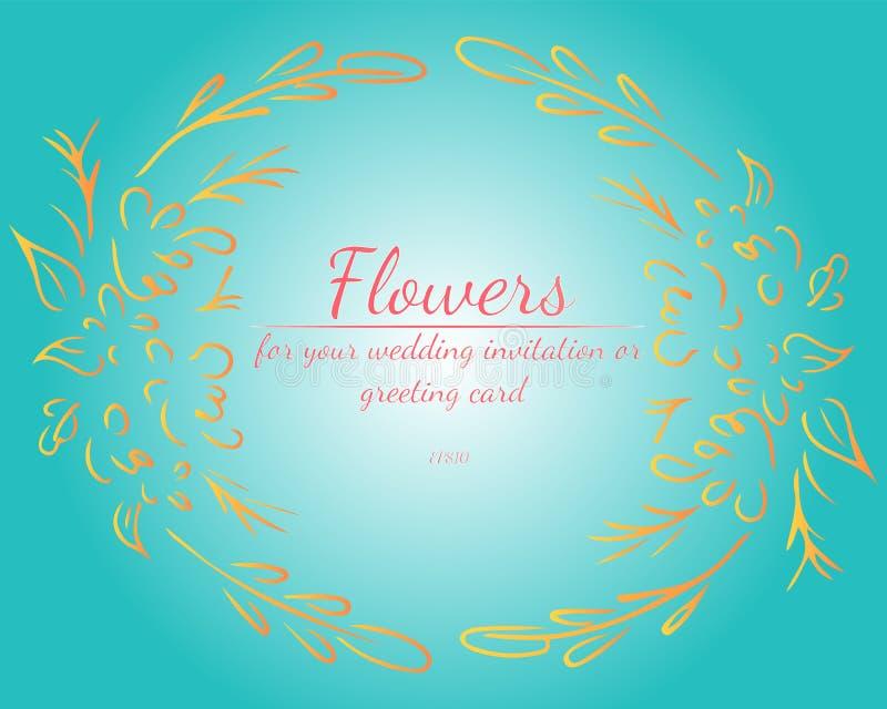 Guirnalda de las rosas o de las flores con verde de mar ligero, sombrilla, colores coralinos de vida de las peon?as Elementos flo libre illustration