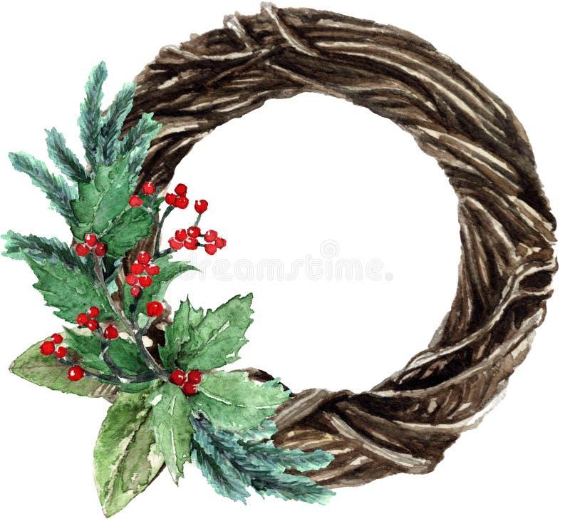 Guirnalda de mimbre de la Navidad escandinava de la acuarela stock de ilustración