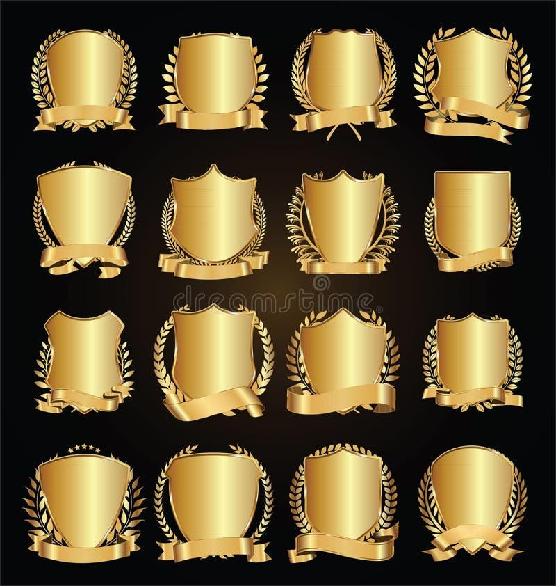 Guirnalda de oro del laurel de los escudos con la colección de oro del vector de la cinta ilustración del vector