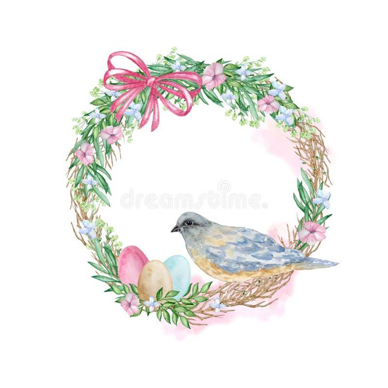 Guirnalda de pascua de la acuarela con el pájaro ilustración del vector