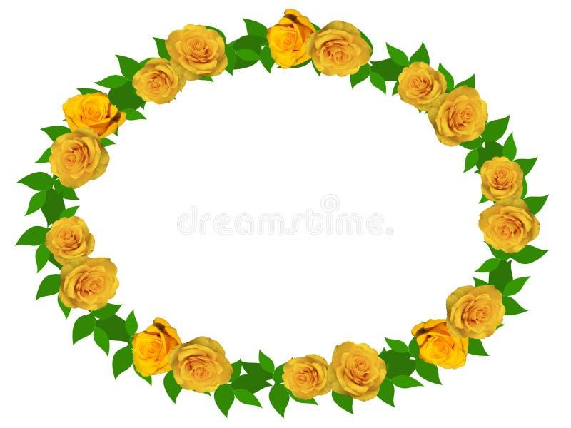 Guirnalda de rosas amarillas en un fondo transparente stock de ilustración