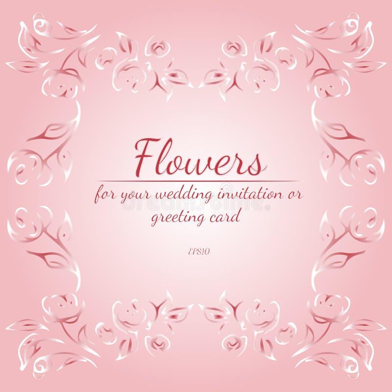 Guirnalda de rosas o de flores de las peon?as con la azalea, p?lida - colores del rosa y blancos Elementos florales del dise?o de ilustración del vector