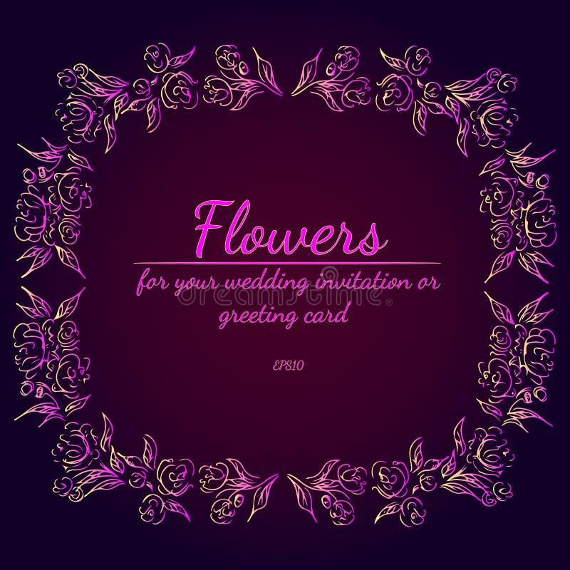 Guirnalda de rosas o de flores de las peon?as con los colores violetas, amarillos y rosados Elementos florales del dise?o del cap ilustración del vector