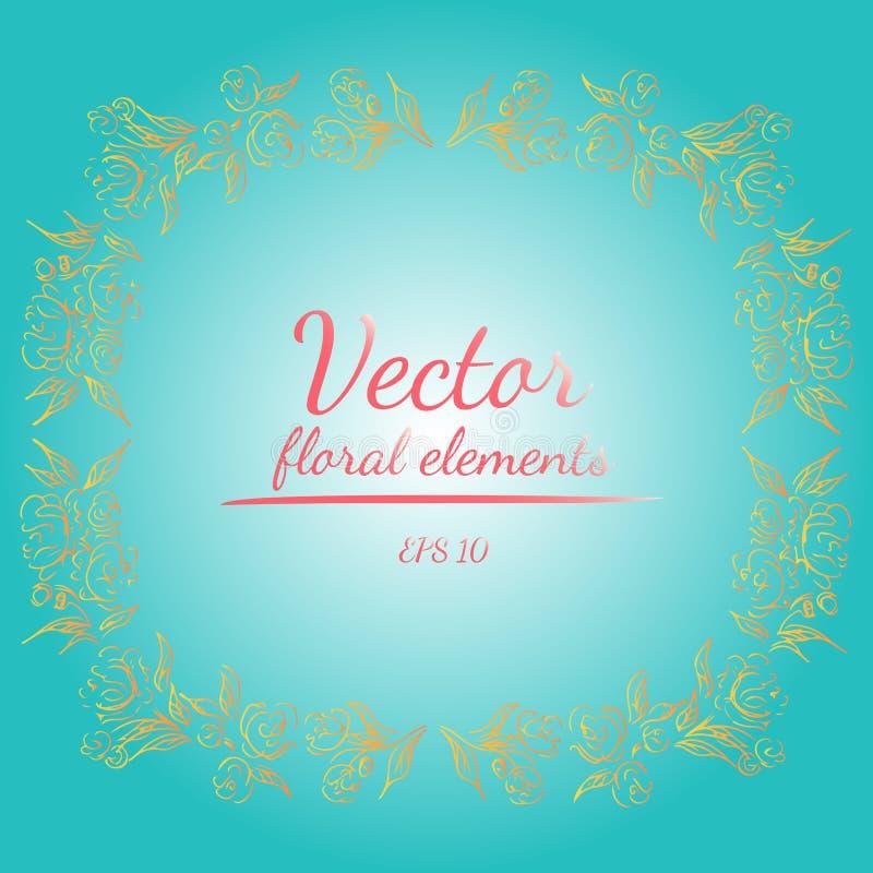 Guirnalda de rosas o de flores de las peon?as con verde de mar ligero, la sombrilla, los colores coralinos, amarillos y blancos d libre illustration