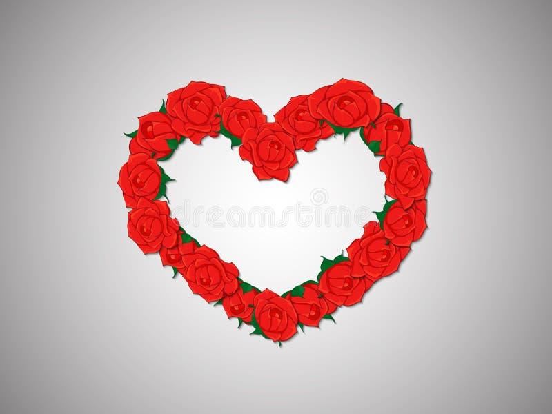 Guirnalda de rosas rojas en una forma del corazón en un fondo ligero stock de ilustración