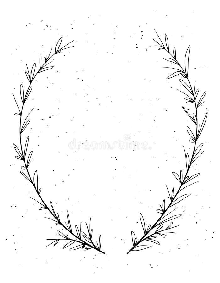 Guirnalda decorativa dibujada mano del laurel Elementos del diseño del vintage Perfeccione para las invitaciones, las tarjetas de stock de ilustración
