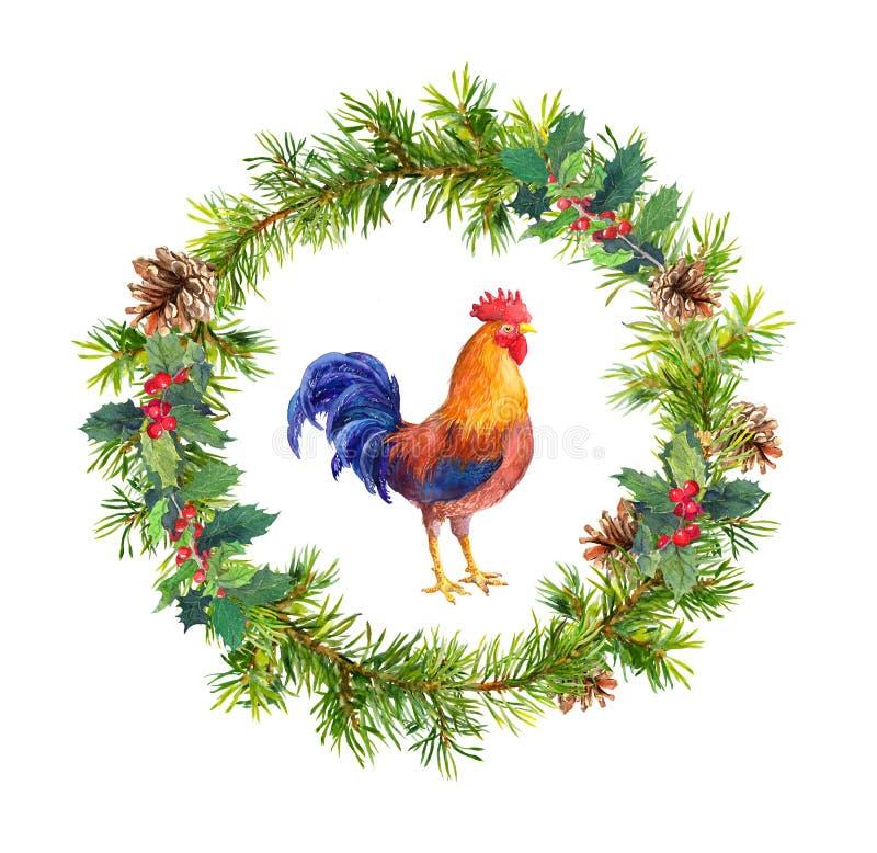 Guirnalda del Año Nuevo, gallo del gallo y ramas de árbol de navidad watercolor ilustración del vector